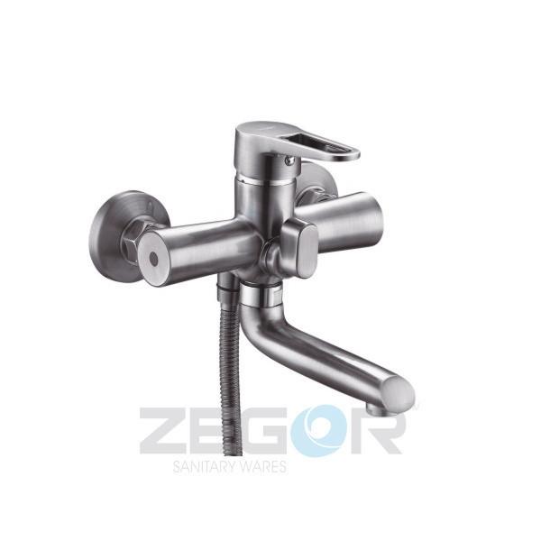 Смеситель для ванны с душем Zegor PUD3-KH (PUD3-A045) однорычажный с коротким изливом цвет нержавейка