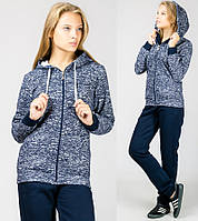 Теплый зимний спортивный костюм женский с капюшоном меланж трикотажный брюки  манжет (резинка) внизу Турция 30c27e7dae363