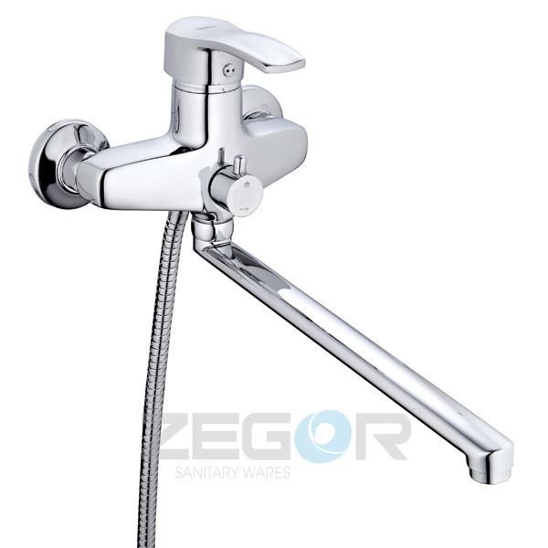 Смеситель для ванны Zegor BBS7 (NVL-A) с душем однорычажный с длинным гусаком цвет хром
