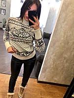 Женский шерстяной вязаный свитер с рисунком ,белый. р.44-48., фото 1