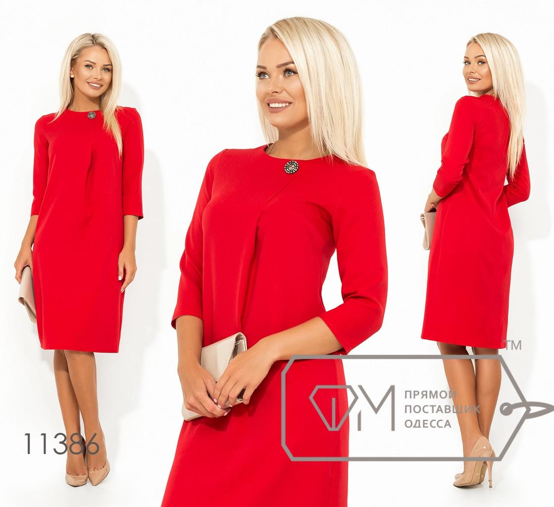 a7296f09840 Красное прямое платье в деловом стиле с рукавом 3 4 и складкой на груди.  Арт-3225 23