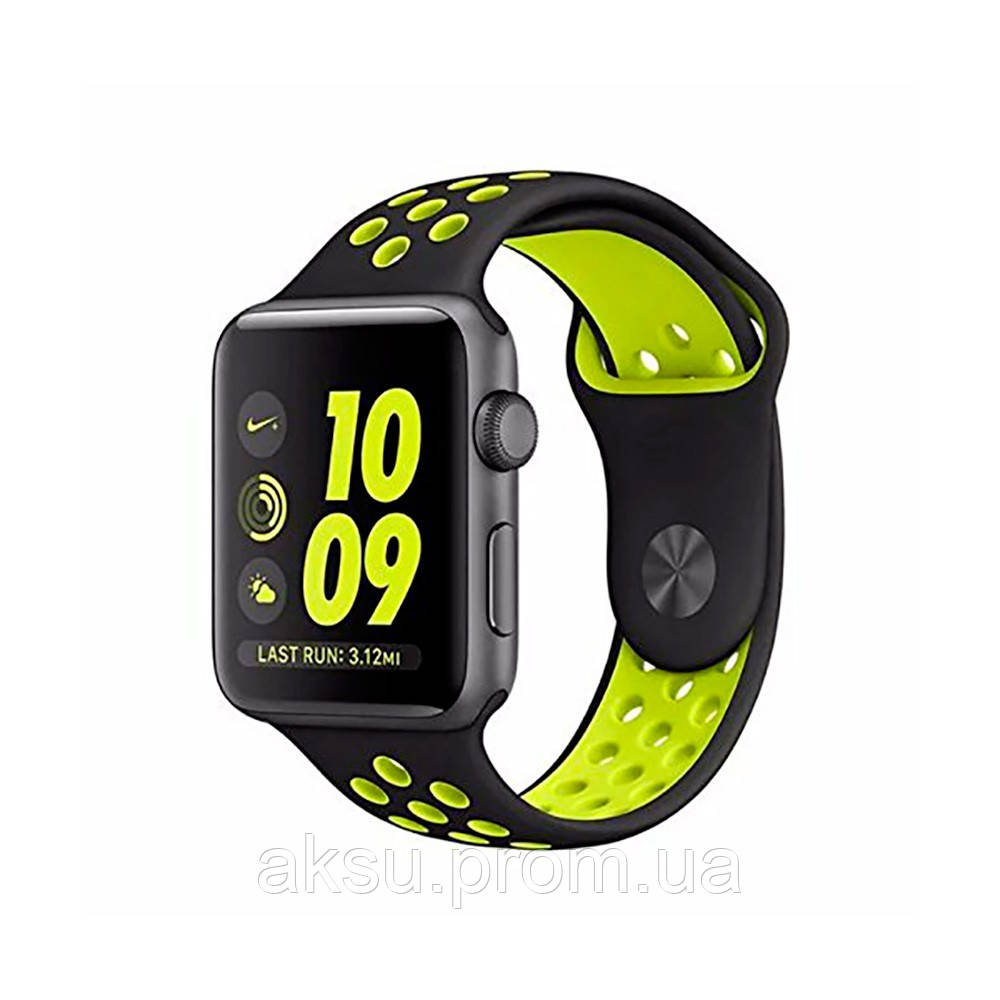 Ремешок для Apple Watch 38mm/40mm Sport Band Nike+ (Black Yellow)