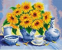 Алмазна мозаїка картина Соняшники зроблена з рамкою