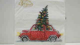 Салфетка (ЗЗхЗЗ, 20шт)  La FleurНГ Новогодний автомобиль(318) (1 пач)