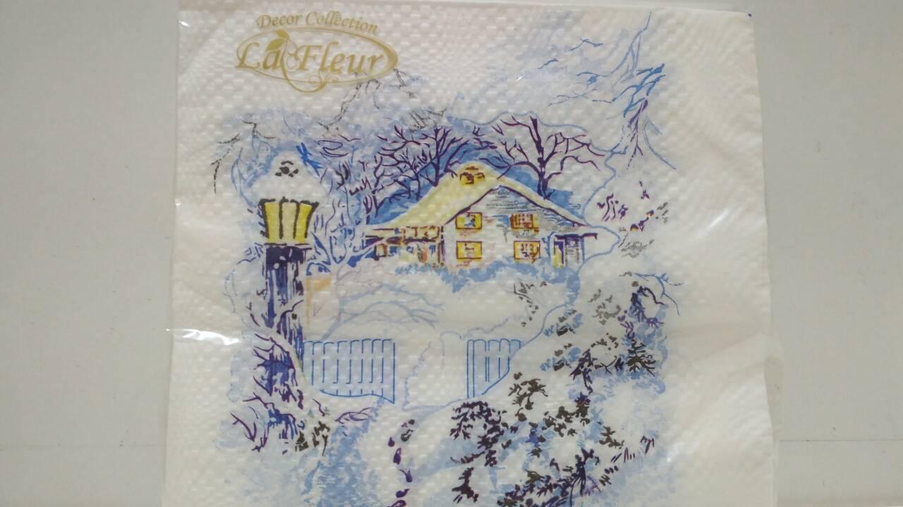 Салфетка (ЗЗхЗЗ, 20шт)  La FleurНГ Снежная зима(315) (1 пач)