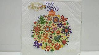 """Салфетка (ЗЗхЗЗ, 20шт)  La FleurНГ """"Новогодняя игрушка(317) (1 пач)"""