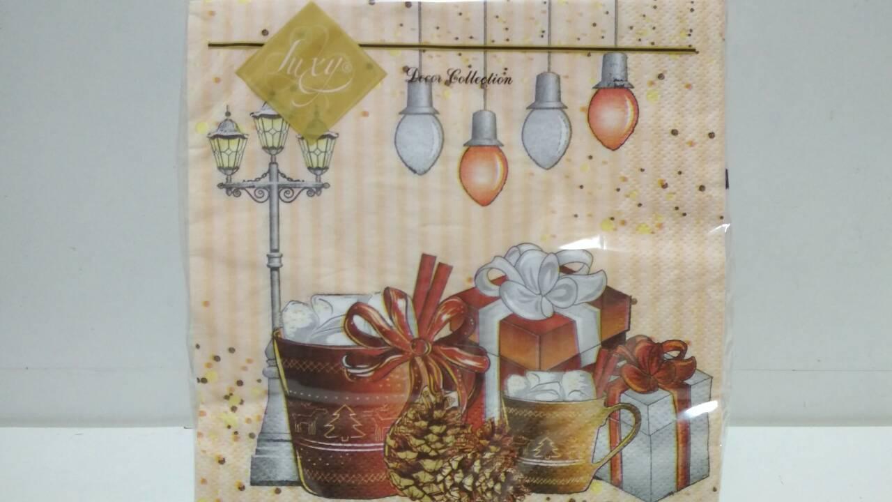 Салфетка (ЗЗхЗЗ, 20шт) LuxyНГ Рождественский напиток(1225) (1 пач)