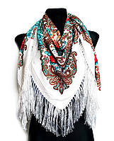 Народный платок Стефания, 120х120 см, белый