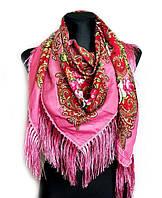 Народный платок Стефания, 120х120 см, розовый