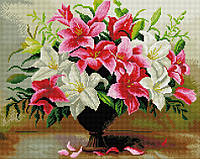 Алмазна мозаїка картина Лілії зроблена з рамкою