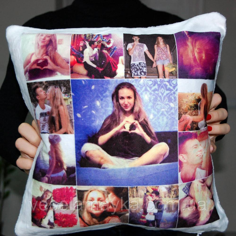 Подушка квадратная с фото 35x35 см