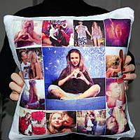 Подушка плюшевая квадратная с фото 35x35 см