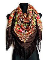 Народный платок Стефания, 120х120 см, коричневый