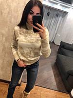 Красивый женский вязаный свитер с оленями, бежевый. NВ 2537, фото 1