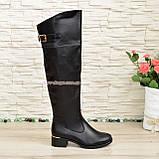 Ботфорты кожаные женские зимние на каблуке, черного цвета, фото 5