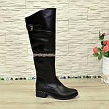 Ботфорты кожаные женские зимние на каблуке, черного цвета, фото 3