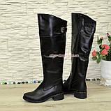 Ботфорты кожаные женские зимние на каблуке, черного цвета, фото 4