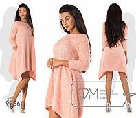 Нежное уютное вязаное ангоровое платье-трапеция свободного кроя с ассиметричным низом. Арт-3217/23, фото 1