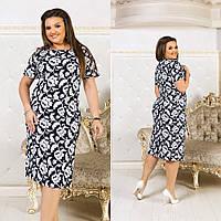 Красивое приталенное платье из льна с принтом цветов a6068d999ba54