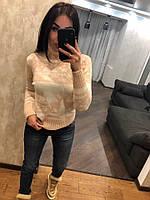 Красивый женский вязаный свитер с оленями, пудра. NВ 2543, фото 1
