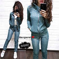 Костюм женский на флисе, кофта с капюшоном и штаны, размеры S M, фото 2