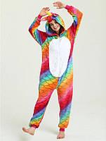 Кигуруми разноцветный единорог чешуя пижама v1416
