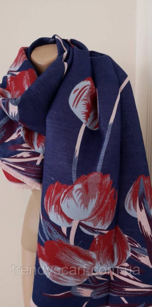 Женский Плотный Кашемировый шарф-палантин.Бордово синий.Цветы Тюльпаны Кашемир 190\65