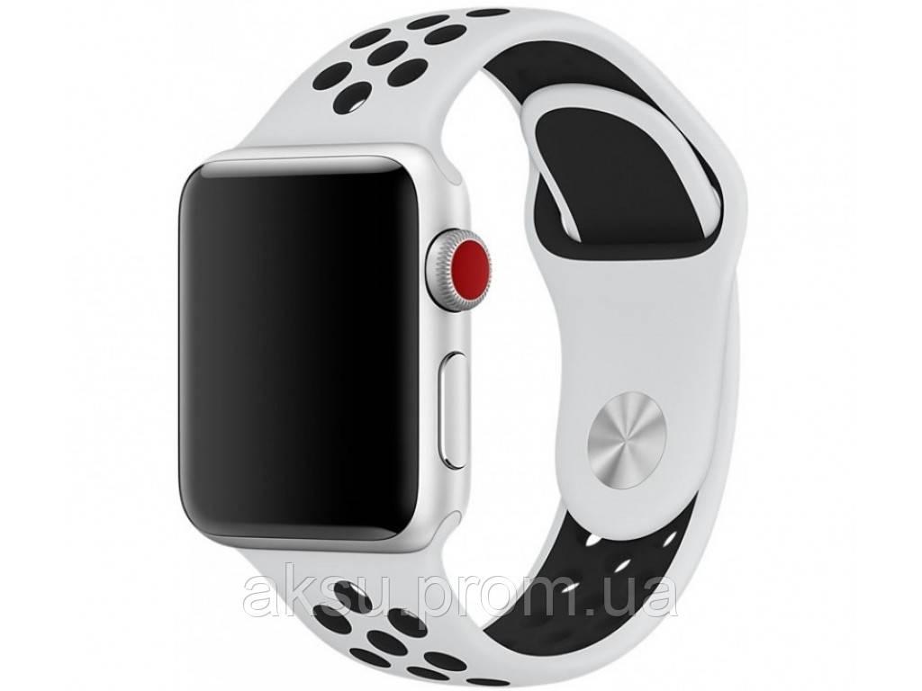Ремешок для Apple Watch 38mm/40mm Sport Band Nike+ (White Black)