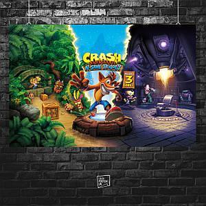 Постер Crash Bandicoot, Крэш Бандикут. Размер 60x40см (A2). Глянцевая бумага