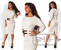 dd9880b326a Белое строгое приталенное прямое трикотажное платье-миди с поясом и  разрезом сзади. Арт-