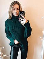 """Стильный женский вязаный свитер """"Городок"""", зеленый, фото 1"""