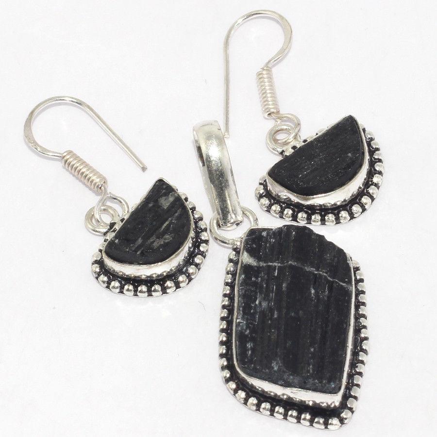 Черный турмалин шерл серьги с натуральным черным турмалином в серебре Индия