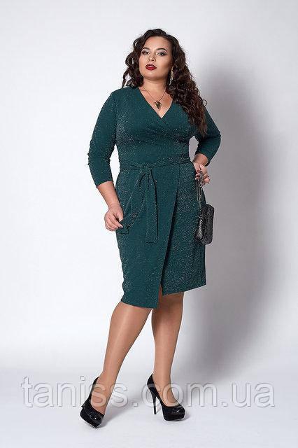 Нарядное платье большого размера, из эластичного трикотажа с люрексом р.52,54,56,58  изумруд (721)