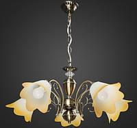Люстра с бежевыми плафонами 5 ламп AR-004563 подвесная