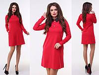 03e6a2759b4 Красное трикотажное платье-трапеция с черным воротничком и длинными  рукавами. Арт-3212