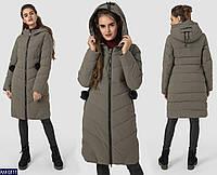 5b675f8221e Модная зимняя женская куртка пуховик больших размеров на молнии с капюшоном  цвет оливка
