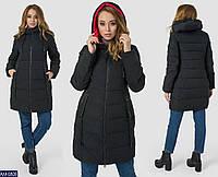 aeb2b914229 Повседневная зимняя женская куртка пуховик батальных размеров на молнии с  капюшоном черная