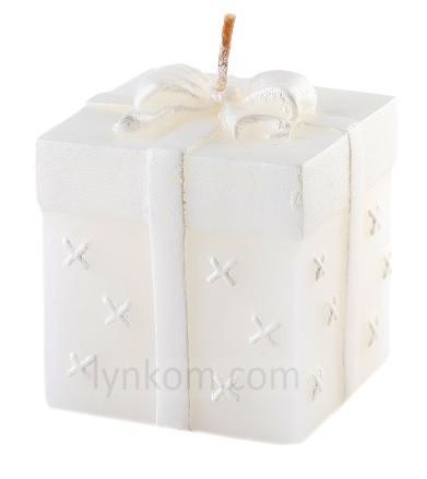 Аромасвеча подарок белая 75/75/80-090 8 см
