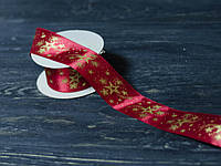 Лента декоративная атласная новогодняя 4 см , фото 1