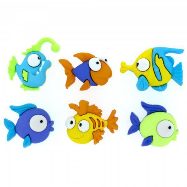 6952 Декоративные пуговицы. Разноцветные рыбки