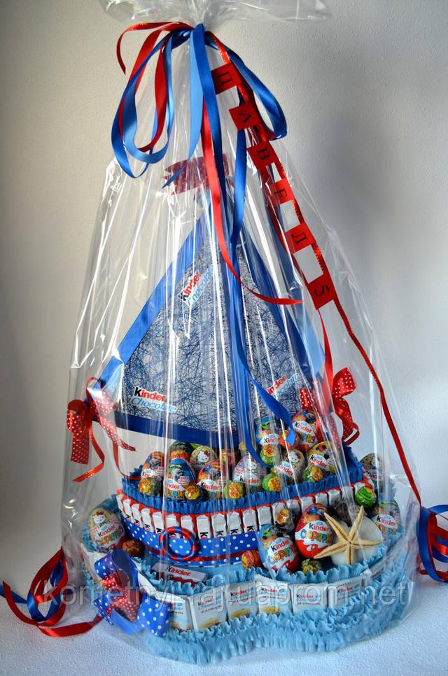 Подарок из киндер шоколада корабль