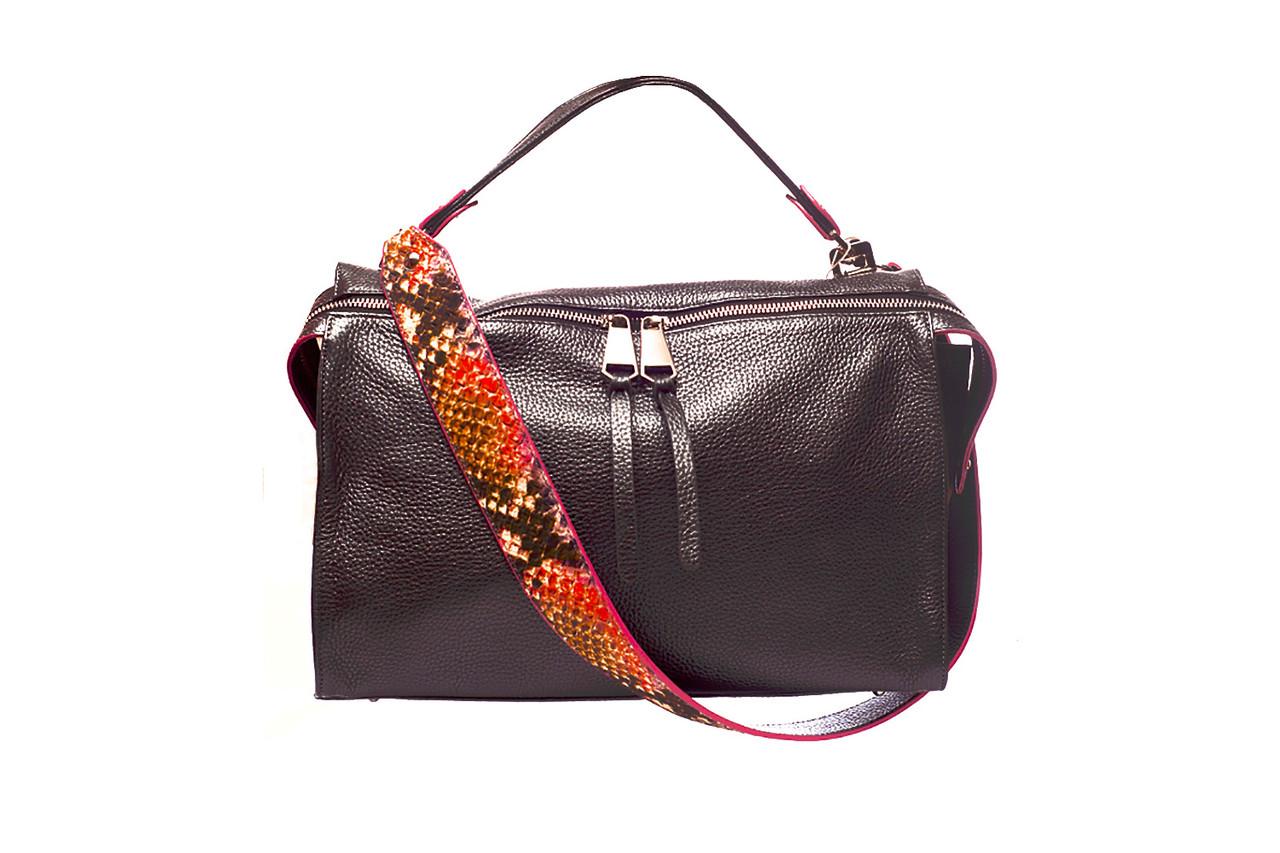9f33cb6768a4 Модная сумка с толстым ремнем, итальянская натуральная кожа, цвет черный  перламутр, графит.