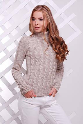 Вязаный женский свитер под горло бежевый, фото 2