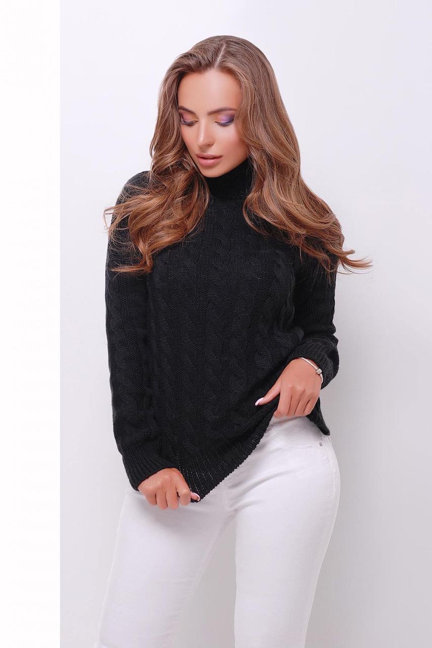 Вязаный женский свитер под горло черный