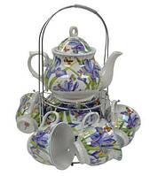 """Набор чайный Оселя 21-245-018 """"Фиолетовые цветы"""" на металлической подставке"""