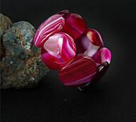 Браслет из агата, крупный овал, малиновый, фото 1