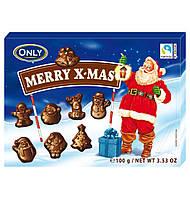 Новогодние шоколадные фигурки  Only Merry X-Mas 100g