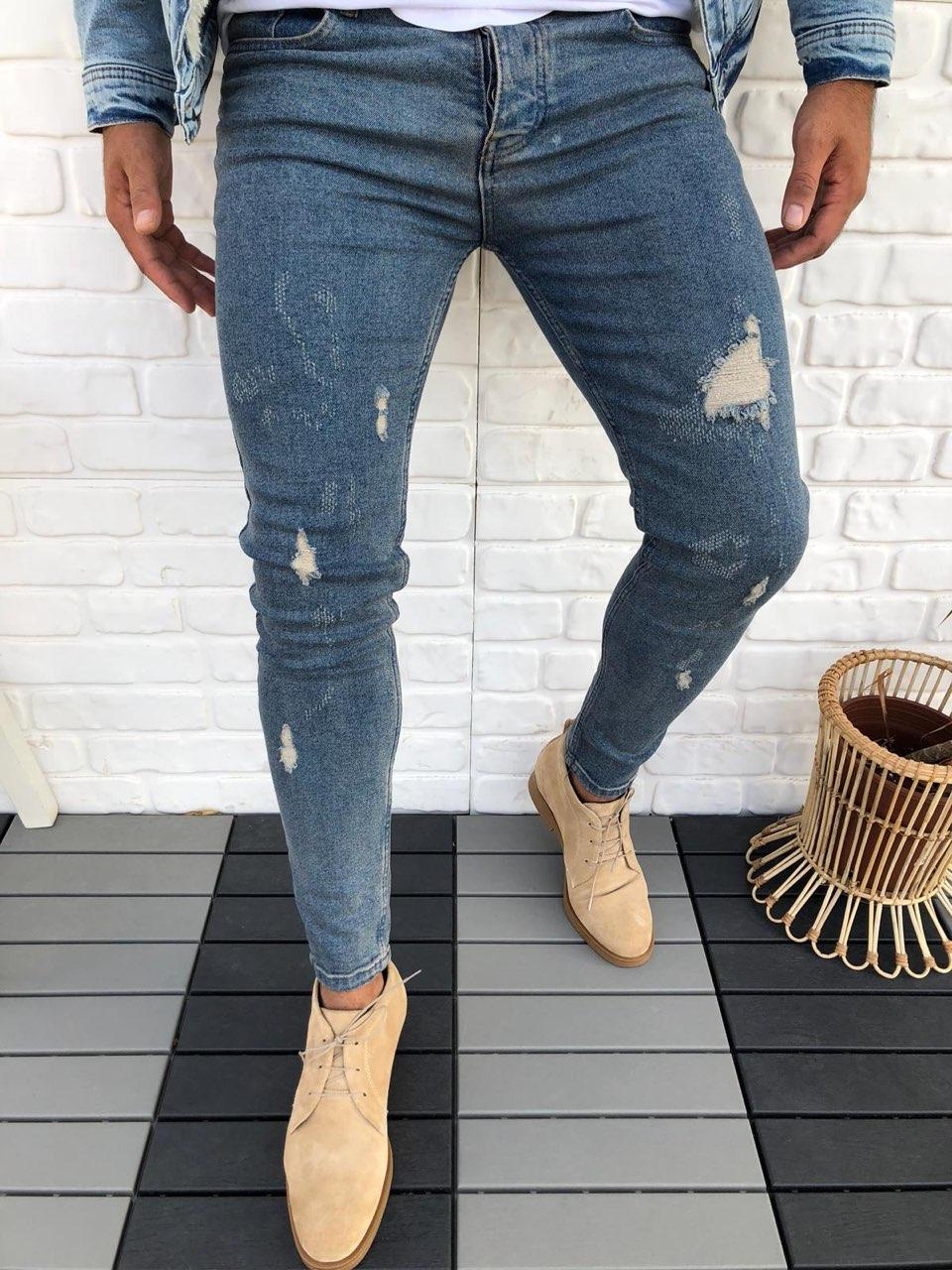 😝 Джинсы - Мужские голубые джинсы