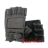Перчатки черные охранника кожаные без пальцев MIL-TEC Black, 12515002