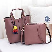 Женская стильная сумка , клатч, 2 в1, комплект, набор, визитница,клатч, брелок,черный, красный ,розовый, серый